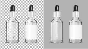 Genomskinlig glasflaska med droppglassen för skönhetsmedel och medicin vektor illustrationer