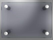 genomskinlig glass name platta för klart företag Arkivfoton
