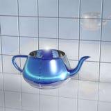 Genomskinlig glass tekanna med ljus - blått ljus arkivfoton
