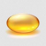Genomskinlig gul kapsel av illustrationen för vektor för drog-, vitamin- eller fiskoljamakro vektor illustrationer
