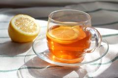 Genomskinlig kopp te med citronen, rågknäckebröd, naturligt ljus, frukost royaltyfri foto