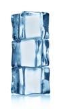 Genomskinlig kub för is tre Arkivfoto