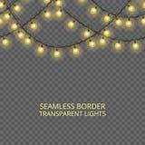 Genomskinlig ljusgirland, sömlös gräns Festlig garnering, skinande julljus som isoleras på genomskinlig bakgrund stock illustrationer
