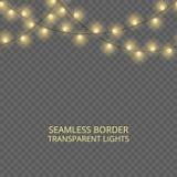 Genomskinlig ljusgirland, sömlös gräns Festlig garnering, skinande julljus som isoleras på genomskinlig bakgrund royaltyfri fotografi