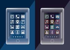 Genomskinlig mobil minnestavla - prototyptelefon 2set royaltyfri illustrationer