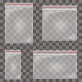 Genomskinlig plast- blixtlåspåseuppsättning Realistisk polyetenbehållare för tomt vakuum med vinandelåset vektor vektor illustrationer