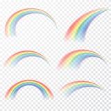 Genomskinlig regnbåge också vektor för coreldrawillustration Realistisk raibow på genomskinlig bakgrund vektor illustrationer