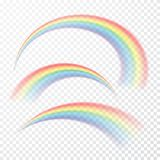 Genomskinlig regnbåge också vektor för coreldrawillustration Realistisk raibow på genomskinlig bakgrund royaltyfri illustrationer