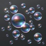 Genomskinlig såpbubbla Realistiska färgrika 3D bubblor, klar schampoboll för regnbåge med färgreflexion mall för restaurang för b royaltyfri illustrationer