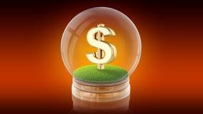 Genomskinlig sfärboll med dollartecknet inom framförande 3d Royaltyfri Fotografi