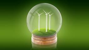 Genomskinlig sfärboll med ekologi-vänskapsmatch väderkvarnar inom framförande 3d Royaltyfri Foto