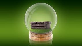 Genomskinlig sfärboll med en soffa inom framförande 3d Royaltyfri Fotografi