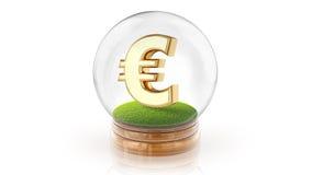 Genomskinlig sfärboll med eurotecknet inom framförande 3d Arkivfoto