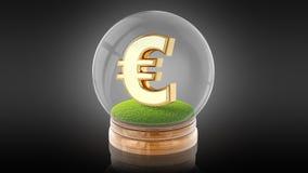 Genomskinlig sfärboll med eurotecknet inom framförande 3d Arkivfoton