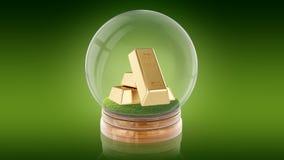 Genomskinlig sfärboll med guld- stänger inom framförande 3d Arkivfoton