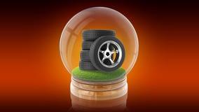 Genomskinlig sfärboll med gummihjul av bilen inom framförande 3d Royaltyfri Fotografi