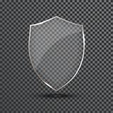 Genomskinlig sköld Symbol för emblem för säkerhetsexponeringsglas Avskildhetsvakt Banner Skyddssköldbegrepp Garnering säkrar best royaltyfri illustrationer