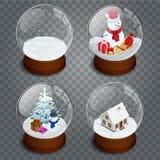 Genomskinlig snowglobe för isometrisk jul som isoleras på genomskinlig vektorbakgrund Vinter i den glass bollen, kristall vektor illustrationer