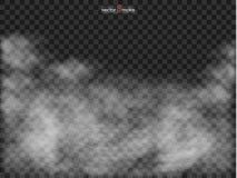 Genomskinlig specialeffekt för dimma eller för rök Realistiskt isolerat moln på en mörk genomskinlig bakgrund stock illustrationer