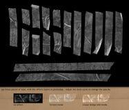 Genomskinlig tejp på svart bakgrund Arkivbild