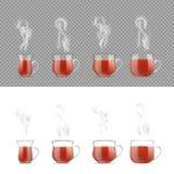 Genomskinlig tekopp med varmt svart te vektor illustrationer