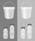 Genomskinlig tom plast- flaska för yoghurt Hink för gräddfil, sås och mellanmål royaltyfri illustrationer