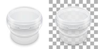 Genomskinlig tom plast- hink för lagring Vektor som förpackar t stock illustrationer