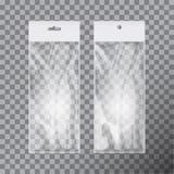 Genomskinlig tom plastpåsemalluppsättning Vit som förpackar med hängningspringan Modellvektorillustration royaltyfri illustrationer