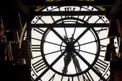 Genomskinlig visartavla av klockastationen Orsay france paris Royaltyfri Bild