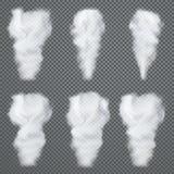 Genomskinlig vit rök, vektoruppsättning på mörk bakgrund royaltyfri illustrationer