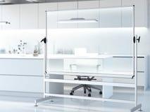 Genomskinlig whiteboard i modernt rent laboratorium framförande 3d Fotografering för Bildbyråer