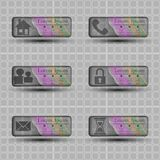 Genomskinliga baner med olika teckensymboler Royaltyfria Bilder