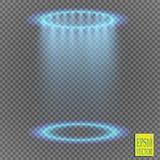 Genomskinliga blåa ligthy effekter på en genomskinlig bakgrund Strålkastare, signalljus, explosion och stjärnor vektor illustrationer