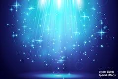 Genomskinliga blåa ligthy effekter på en mörk bakgrund Strålkastare, signalljus, explosion och stjärnor vektor royaltyfri illustrationer