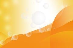 Genomskinliga bubblor på orange bakgrund Arkivbilder