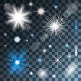 Genomskinliga glödande stjärnor och ljus royaltyfri illustrationer