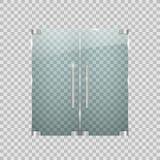 Genomskinliga glass dörrar med metallbeståndsdelar Arkivbild