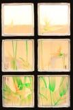 Genomskinliga Glass tegelplattor med färgrik blommamålarfärg Fotografering för Bildbyråer