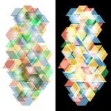 Genomskinliga kuber på en mörker- och ljusbakgrund Arkivfoton