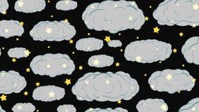 Genomskinliga moln och stjärnor arkivfilmer