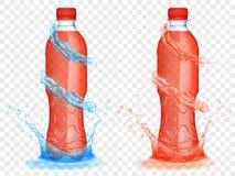 Genomskinliga plast-flaskor med vatten krönar och plaskar Arkivbilder