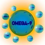 Genomskinliga preventivpillerar för blått omega-9 på gul bakgrund Kapslar för Oleic syra Fleromättade fettsyror Vitamin och vektor illustrationer