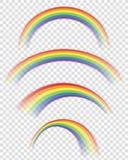 Genomskinliga regnbågar i olika former Arkivbild