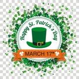 Genomskinliga treklöverer för dag för emblemSt Patricks Royaltyfria Bilder