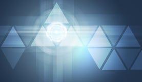 Genomskinliga trianglar på blå bakgrund Royaltyfria Foton
