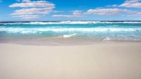 Genomskinliga vågor för karibisk vit sandkust stock video