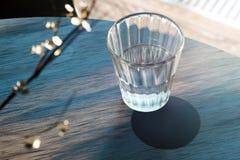 Genomskinligt exponeringsglas med vatten- och ölkustfartyget på trätabellen framf?rande 3d royaltyfri foto