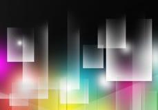 Genomskinligt färgrikt för abstrakt signalljus för bakgrundsrektangelfyrkant Arkivbild