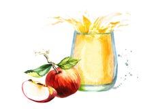 genomskinligt för glass fruktsaft för bild för mat för äpplen för äpple 3d begreppsmässigt fallande naturligt Dragen illustration Arkivbilder