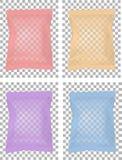Genomskinligt förpacka för mellanmål, mat, chiper, socker och kryddor bakgrund isolerad white stock illustrationer